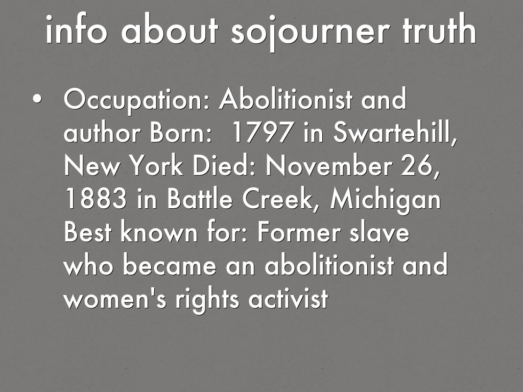 Sojourner Truth Facts For Kids