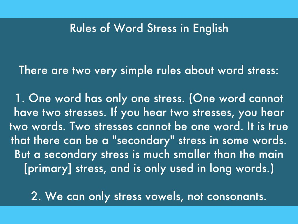 Syllables And Word Stress