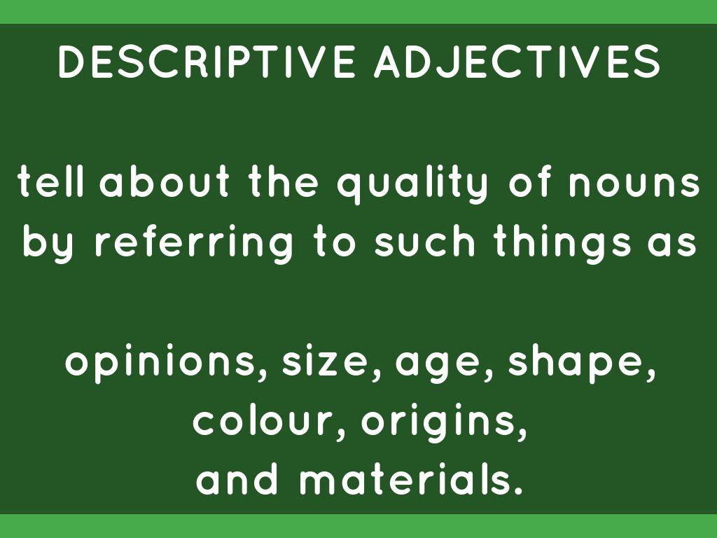 Adjectives By Gillian Pocoe