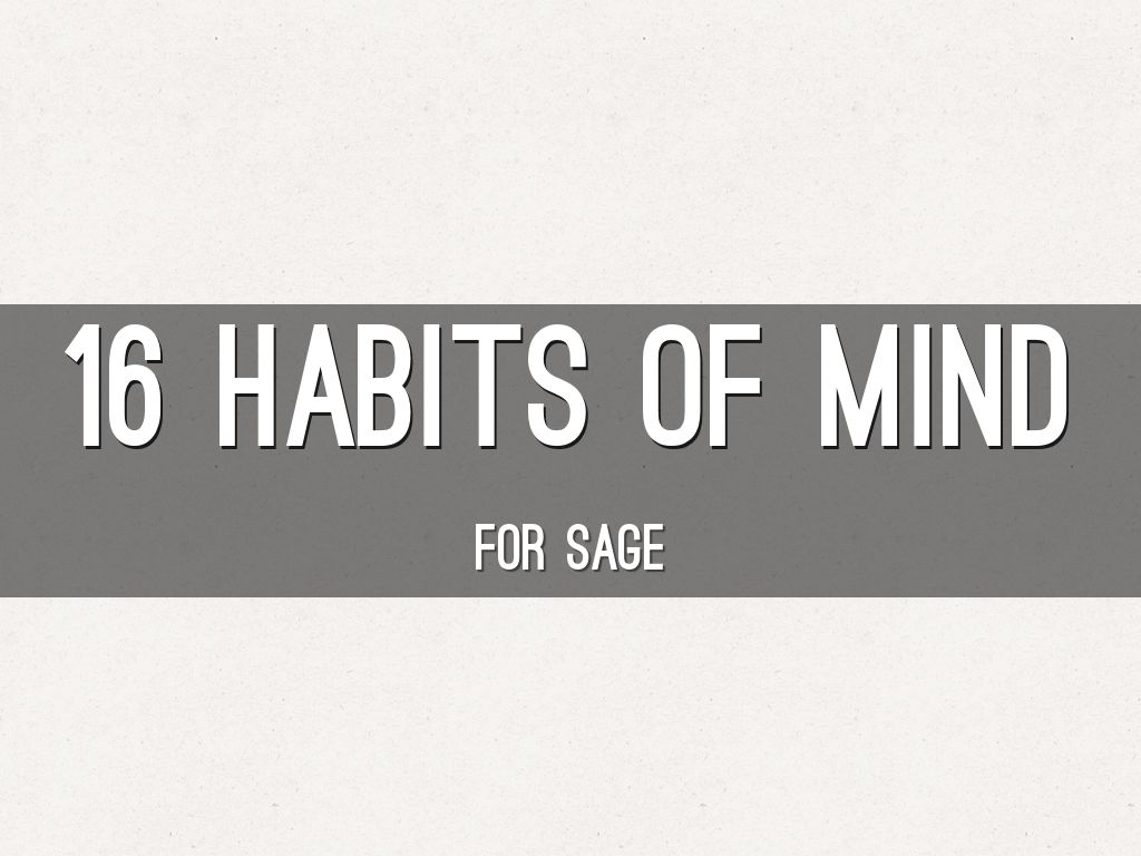 16 Habits Of Mind By Sagelmcafee
