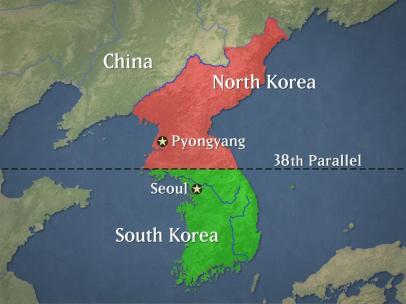 Mapa de el paralelo 28 que divide Corea del Norte con Corea del Sur