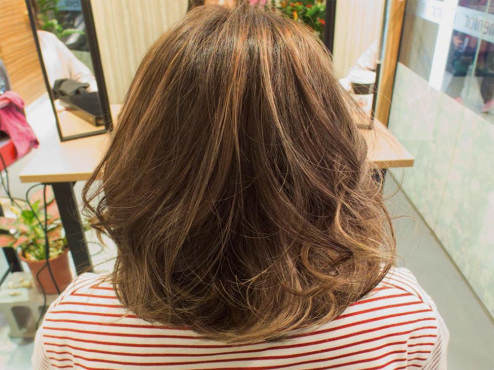 『隱藏式線條染』中長髮染髮作品