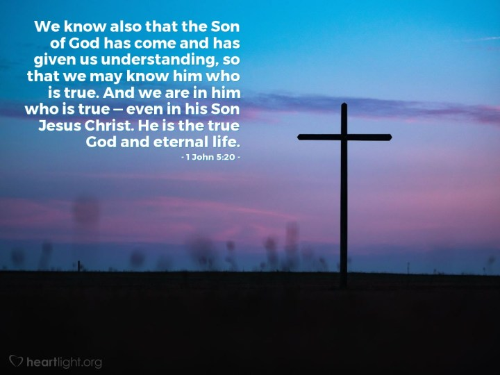 Illustration of 1 John 5:20 — We know also that the Son of God has come and has given us understanding, so that we may know him who is true. And we are in him who is true — even in his Son Jesus Christ. He is the true God and eternal life.