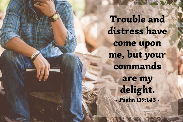 Illustration of Psalm 119:143 — Trouble and distress have come upon me, but your commands are my delight.