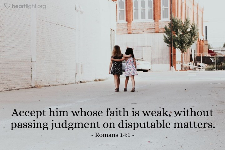 Illustration of Romans 14:1 — Accept him whose faith is weak, without passing judgment on disputable matters.