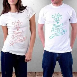 Sevgililere Özel İsim Yazılı T-shirt