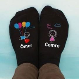 Yılbaşı Hediyesi Aşık Çift 4lü Çorap Seti