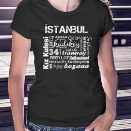 İstanbul Severlere Özel Baskılı İstanbul Tişörtü