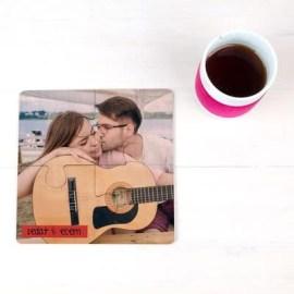 Sevgiliye Yıldönümü Hediyesi Baskılı Bardak Altlığı