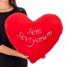 Sevgiliye Hediye Seni Seviyorum Kalp Yastık