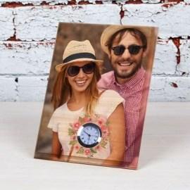 Sevgiliye Hediye Saatli Mini Ahşap Foto