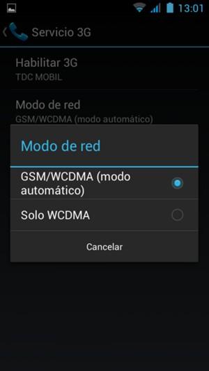 Seleccione GSM/WCDMA para habilitar 3G