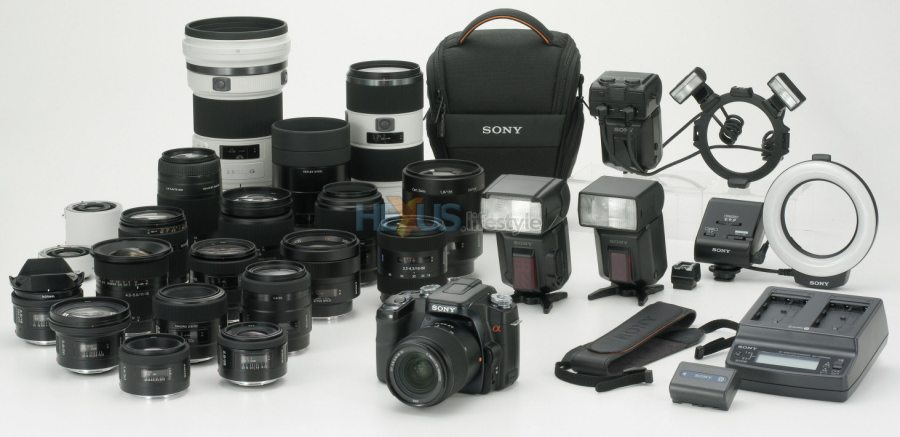 Sony details its July arriving first digital SLR camera   Cameras     Sony DSLR A100 with lenses and accessories