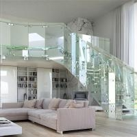 Hot Sale Tempered Glass Circular Staircase Steel Glass Railing | Tempered Glass Stair Railing | Made Glass | Wood | Step | Indoor | Glass Design