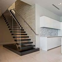 Elegant Solid Wooden Stairs Staircase Glass Railing Floating | Floating Stairs With Glass Railing | Duplex Balcony | Combination Glass | Glass Balustrade | Crystal Handrail | Innovative Glass