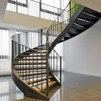 American Building Code Unique Design Steel Wood Arc Stairs With | Metal Handrails For Sale | Balcony Railing | Iron Balusters | Stainless Steel | Stair | Cast Iron