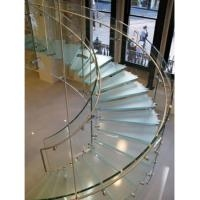 Hot Sale Tempered Glass Circular Staircase Steel Glass Railing | Staircase Steel Railing Designs With Glass | Glass Panel Wooden Handrail | Modern Style | Stair Glass Void | Curved | Metal
