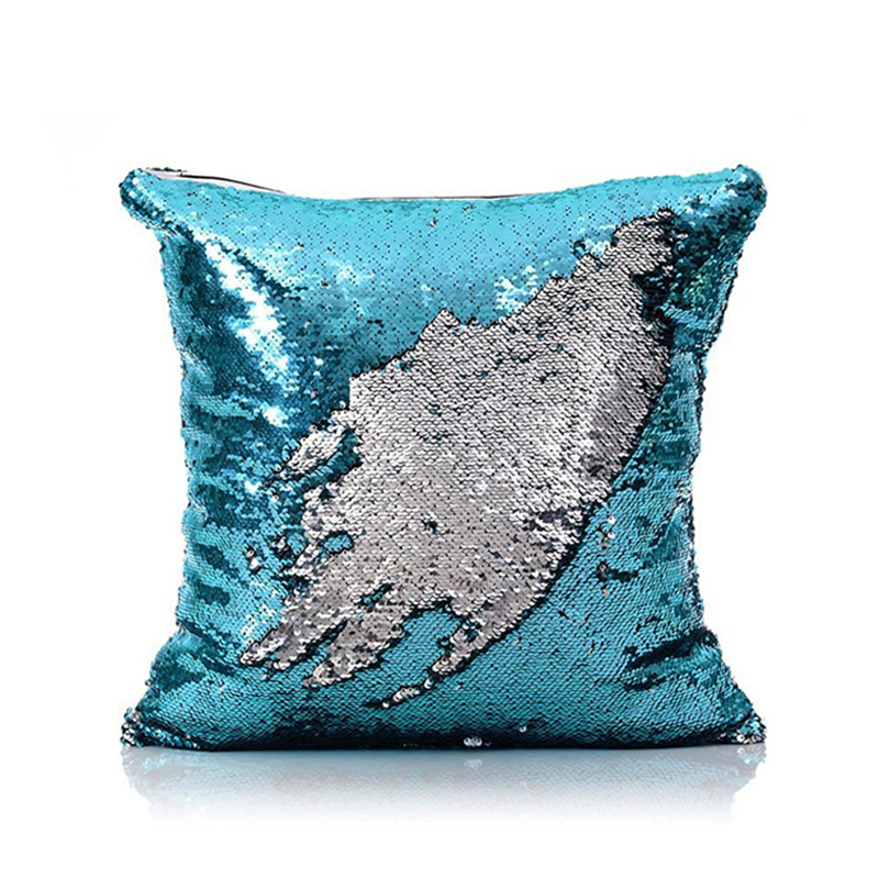 Mermaid Pillow Cover BlueSilver Change Color Sequins Cushion Inverted Flip Sequin Pillow Cover