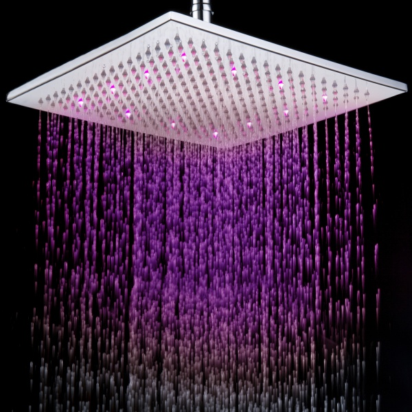 Faucets Shower Heads 12 Inch Chromed Brass Square LED Rain Shower Head 0913 8106