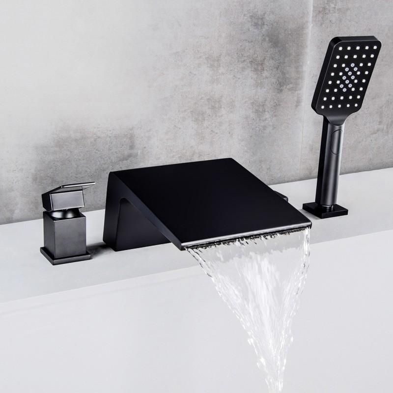 deck mount roman tub faucet with sprayer waterfall bath mixer tap black chrome