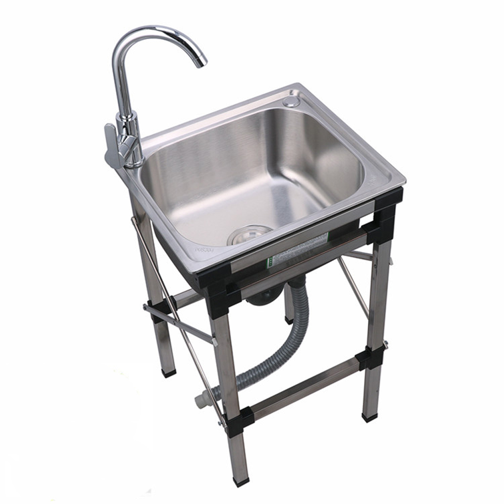 commercial kitchen sink stainless steel single bowl utility outdoor sink faucet not included