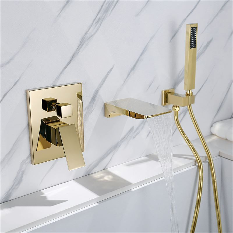 wall mounted bathtub faucet waterfall bathroom tub tap with hand shower chrome black gold