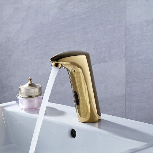 gold no touch bathroom faucet infrared motion sensor cold tap