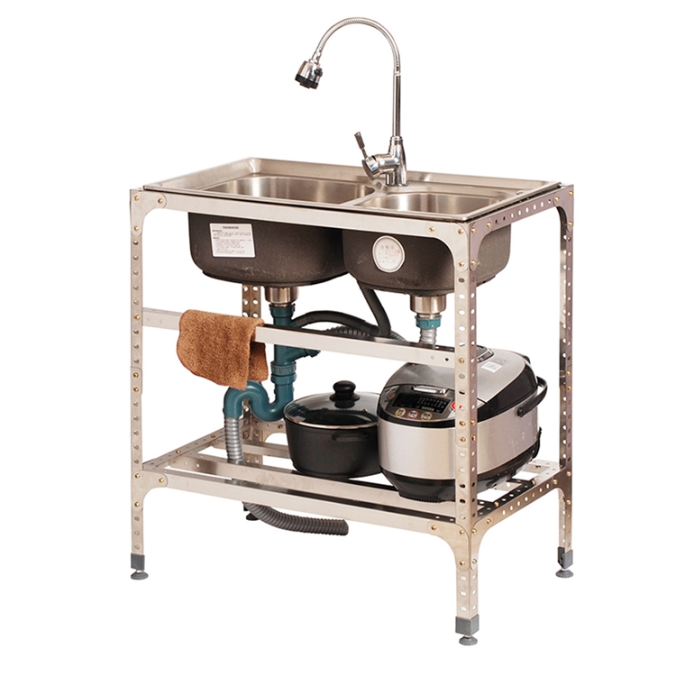 kitchen sink movable modern sink stainless steel outdoor double bowl washing sink faucet not included