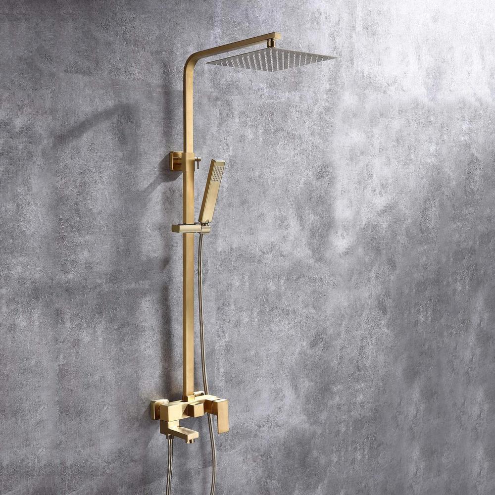 brushed gold shower faucet set 9 inch