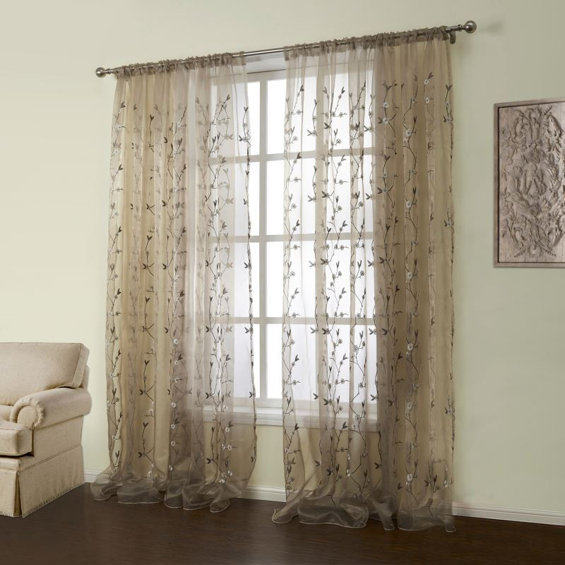 One Panel Country Embroidered Brown Floral Pattern Polyester Amp Cotton Sheer Curtains 01