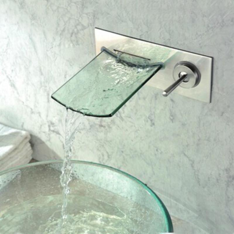 wall mount waterfall tub faucet single handle chrome waterfall glass bathtub mixer tap