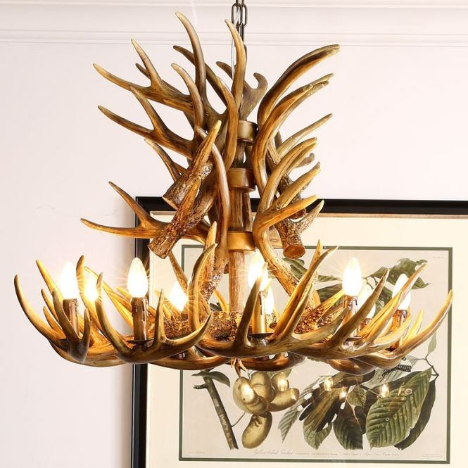Faux Antler Chandelier Lighting Country Nordic Style Two Tier With 9 Lights Dining Room