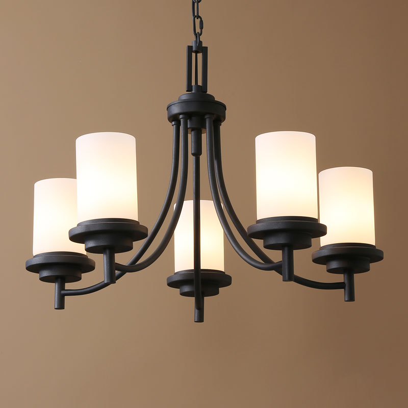 American Country Nordic Style Iron Paint Light Black Glass