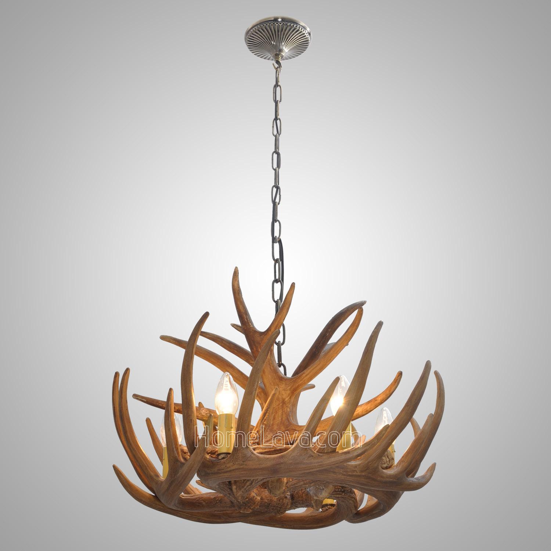 Antler 6 Light Chandelier Rustic Cascade Ceiling Light