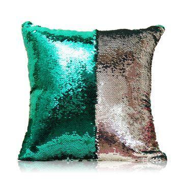 entrepot ue sirene paillettes de deux couleur oreiller coussin sequin couleur flip magie diy ktv bar festival voiture boite de nuit vert de paon argent