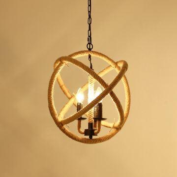 suspension design retro a 3 lampes chanvre corde lustre style de campagne luminaire cuisine salon chambre