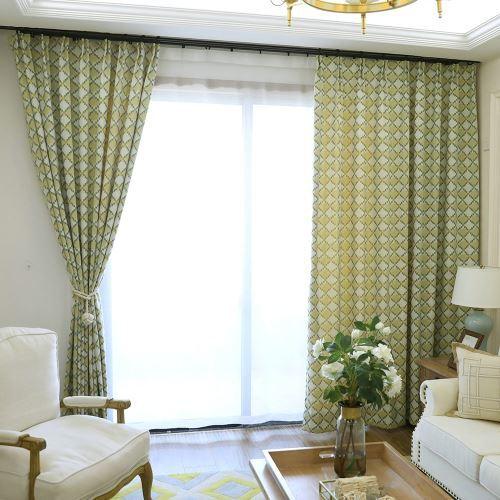 rideau tamisant jacquard a carreaux jaune vert
