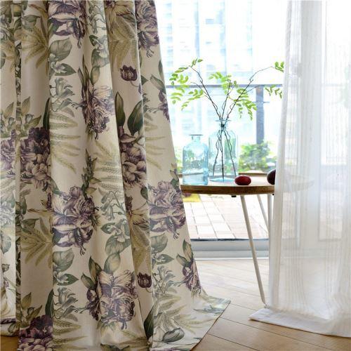 rideau tamisant a motif fleur violette pour salle a manger chambre