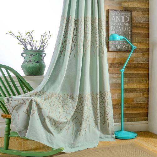 rideau tamisant brode en coton lin vert pour chambre a coucher simple americaine