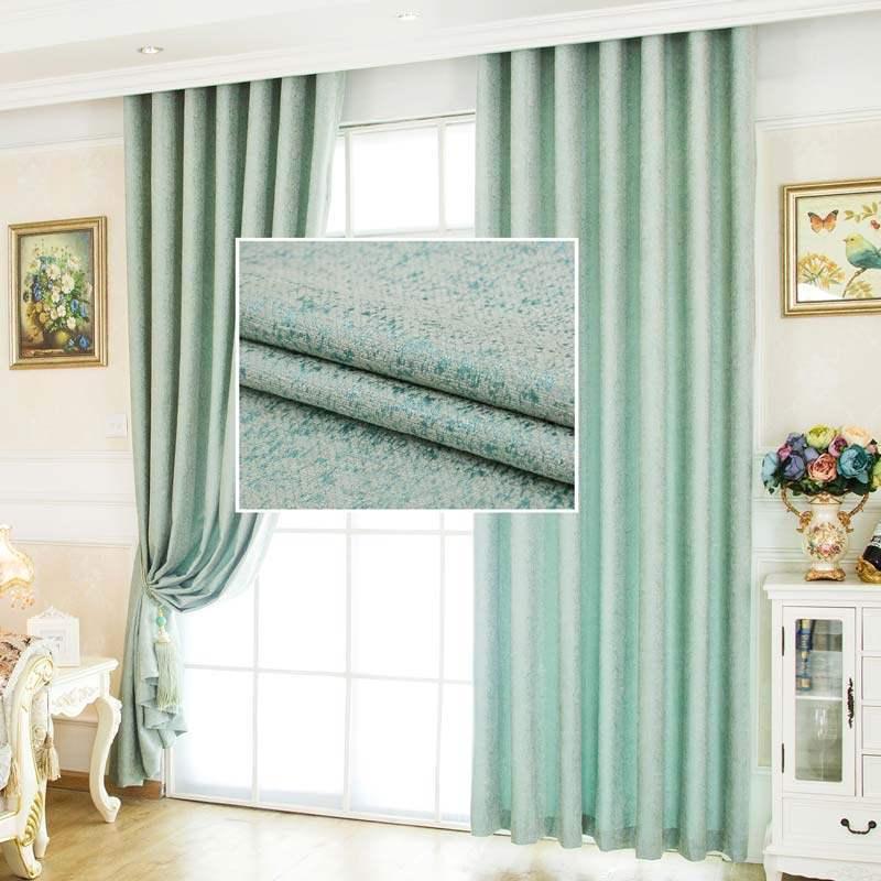 rideau occultant jacquard en chenille vert point pour chambre a coucher simple mode