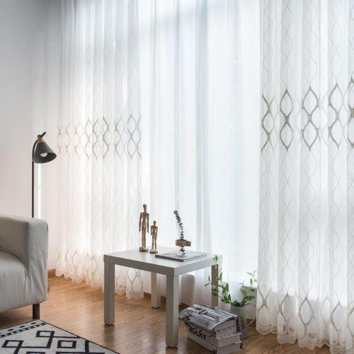 voilage jacquard geometrique pour chambre d etude salon simple moderne