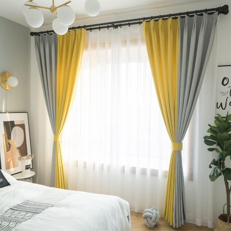 rideau occultant polyester jaune gris moderne pour chambre a coucher salon