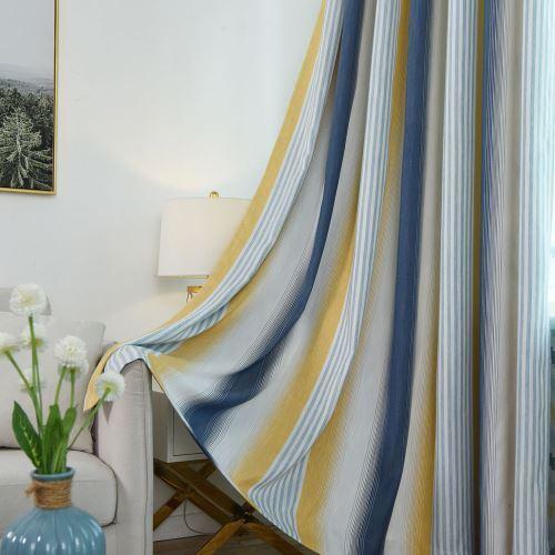 rideau occultant en coton lin rayure bleu marine pour chambre a coucher salon