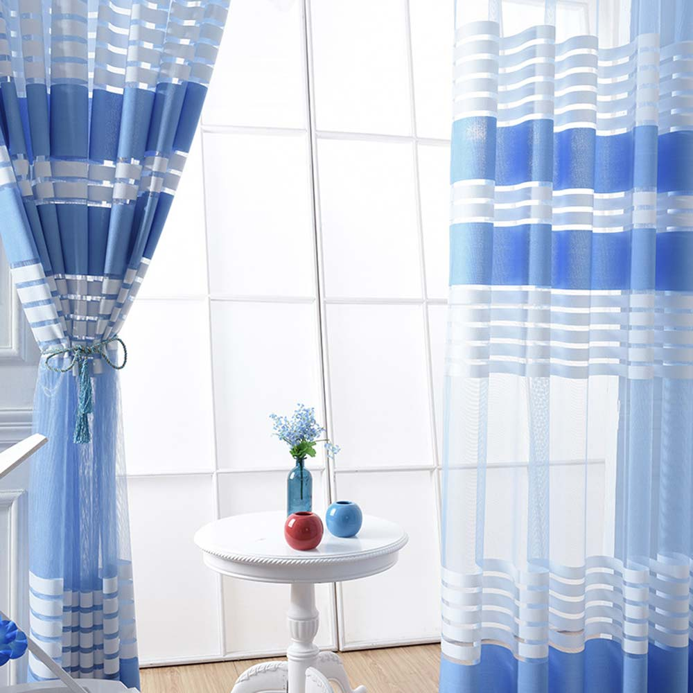 voilage en polyester chaine rayure bleu