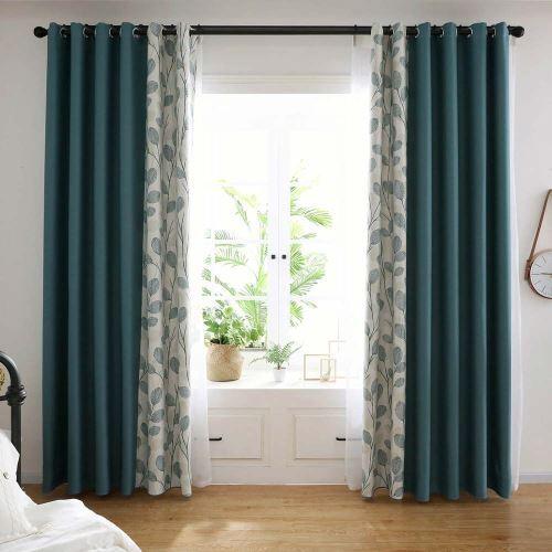 rideau occultant en polyester lin imprime feuille verte pour bureau chambre a coucher