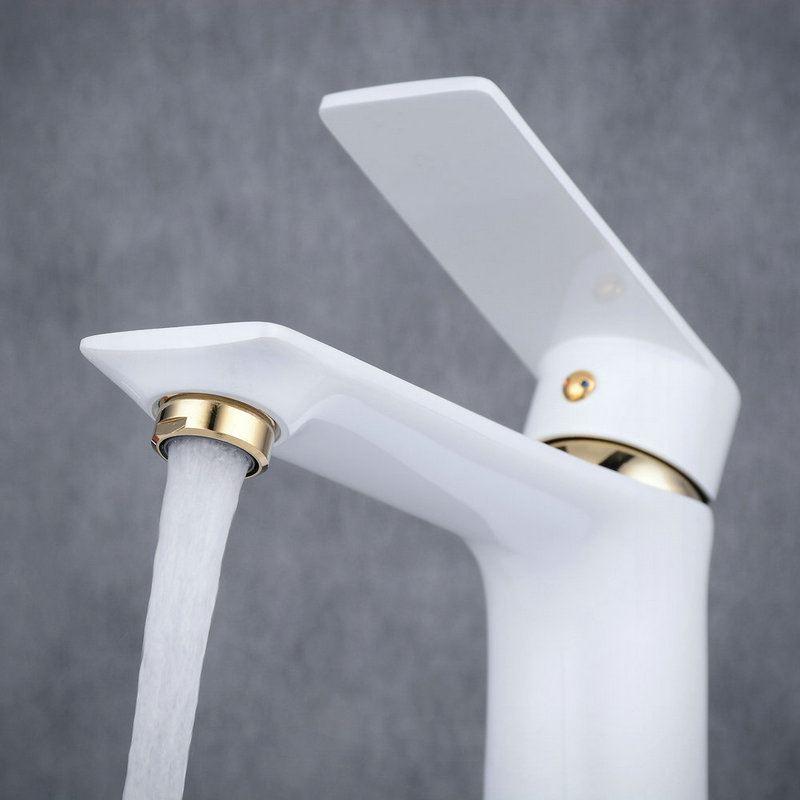 robinet de lavabo laiton h15 5cm peinture de cuisson blanc or pour salle de bain