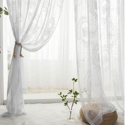 voilage blanc d impression rose en fibres polyester pour salon baie vitree chambre a coucher