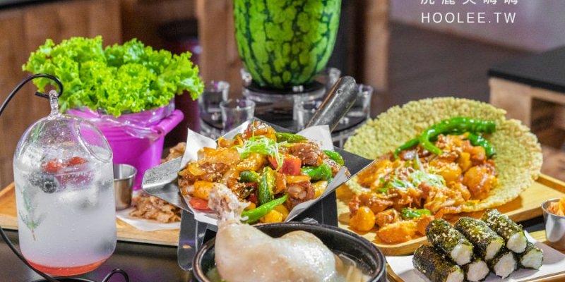 大月韓食創意料理(高雄)宵夜推薦!必吃蒜味雞腿年糕湯,生菜包肉配整顆西瓜燒酒