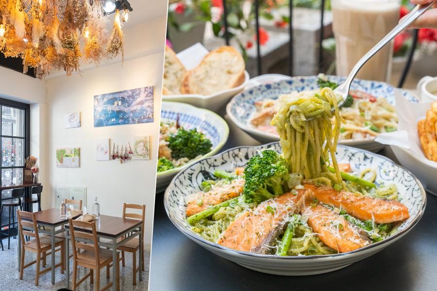吃義碗麵(高雄)隱藏巷弄可愛店!聚餐推薦鮭魚滿滿義大利麵,辣味涮嘴的蒜香干貝醬燉飯