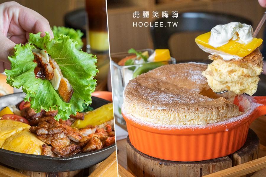 多一點咖啡館(高雄)美術館早午餐!韓式泡菜豬五花鐵板拼盤,下午茶甜點推薦mini熱蛋糕